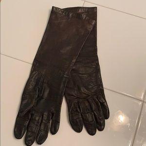 Vintage brown leather long gloves